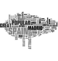 What to see and do while in spain text word cloud vector