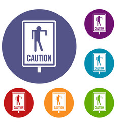 Zombie road sign icons set vector