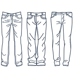 Drawing blue jeans outline Jean mens jean vector image vector image