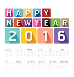 2016 Calendar colorful happy new year design vector image vector image