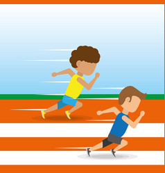 athletes running in competition championship vector image vector image