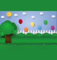 balloons in garden paper art style vector image vector image