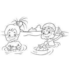 children bathing vector image vector image