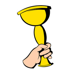 hand holding winner trophy cup icon icon cartoon vector image vector image