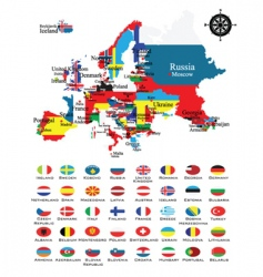 map and flags vector image vector image