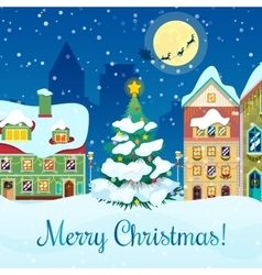 Merry Christmas Cityscape Greeting Card vector image vector image