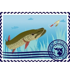 Postage stamp The hunt for pike vector image