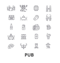 pub bar beer alchocol party brewery club line vector image