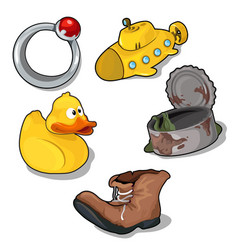 set of childrens toys and old things vector image vector image