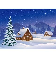 Christmas village at mountains vector