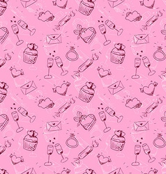 cute pink sketchy Valentines day seamless pattern vector image vector image