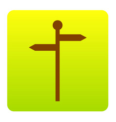direction road sign brown icon at green vector image