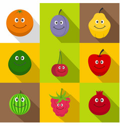 funny fruits icons set flat style vector image
