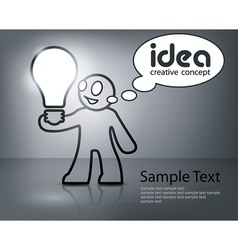 Man with bulb in grey vector image vector image