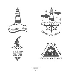 Set of yacht club logos vector