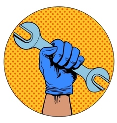 Sign of repair hand holding wrench symbol vector image vector image
