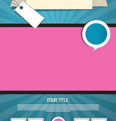 Blue and Pink Leaflet or Poster Retro Template vector image vector image