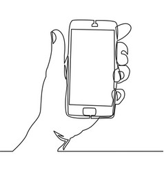 continuous line drawing of hand holding smartphone vector image vector image