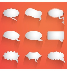 Flat speech bubble icon with long shadow set vector image vector image
