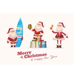 Funny santa set Christmas greeting card vector image