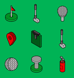 Golf flat outline isometric set vector