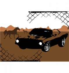 horse and car design vector image vector image