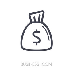 money bag outline icon finances sign vector image vector image