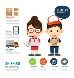 shipping infographic with people delivery service vector image vector image