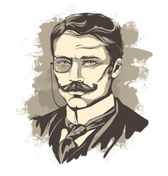 sketch of a learned man with a mustache and a vector image vector image