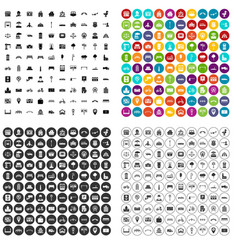 100 city icons set variant vector