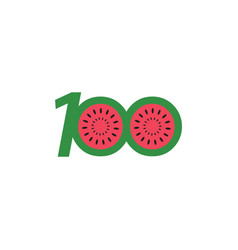 100 year anniversary fruit number template design vector