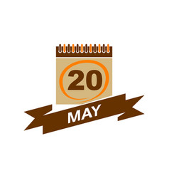 20 may calendar with ribbon vector