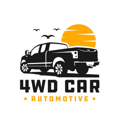 4wd pick up car logo vector