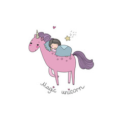 A sleeping girl and a unicorn vector