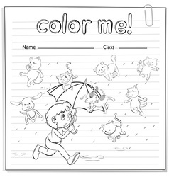 A worksheet showing a rain with cats and dogs vector image