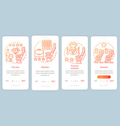 Aircraft travel class seating orange onboarding vector