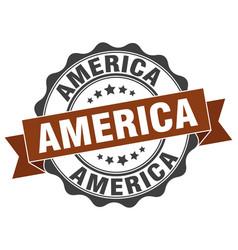 America round ribbon seal vector