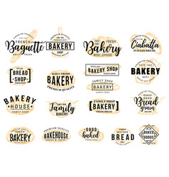 Bakery hand drawn lettering icon with bread sketch vector