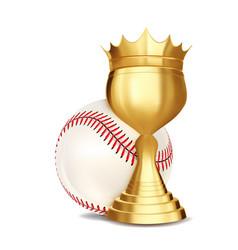 baseball award ball golden cup vector image