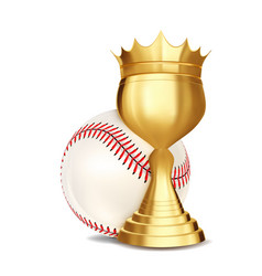 baseball award baseball ball golden cup vector image
