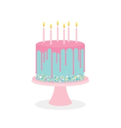 Birthday cake with frosting and burning candles vector
