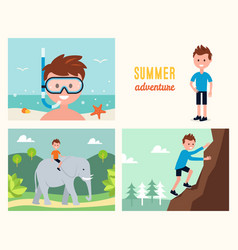 Boy snorkeling climbing rock and riding elephant vector