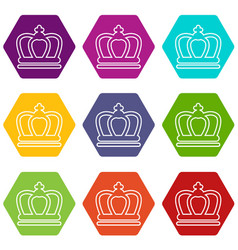 britain crown icons set 9 vector image