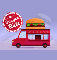 burger food truck concept banner cartoon style vector image
