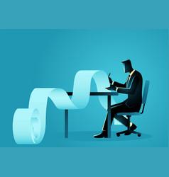 Businessman working on paperwork vector