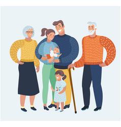cartoon beautiful happy family vector image
