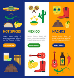 cartoon mexican culture color banner vecrtical set vector image