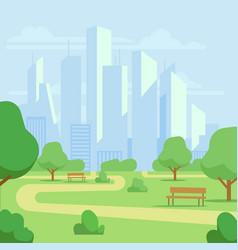 Cartoon public city park with skyscrapers vector