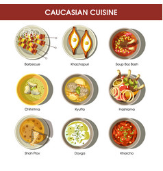 caucasian cuisine set with traditional dishes vector image