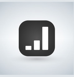 chart simple icon over black app button report vector image
